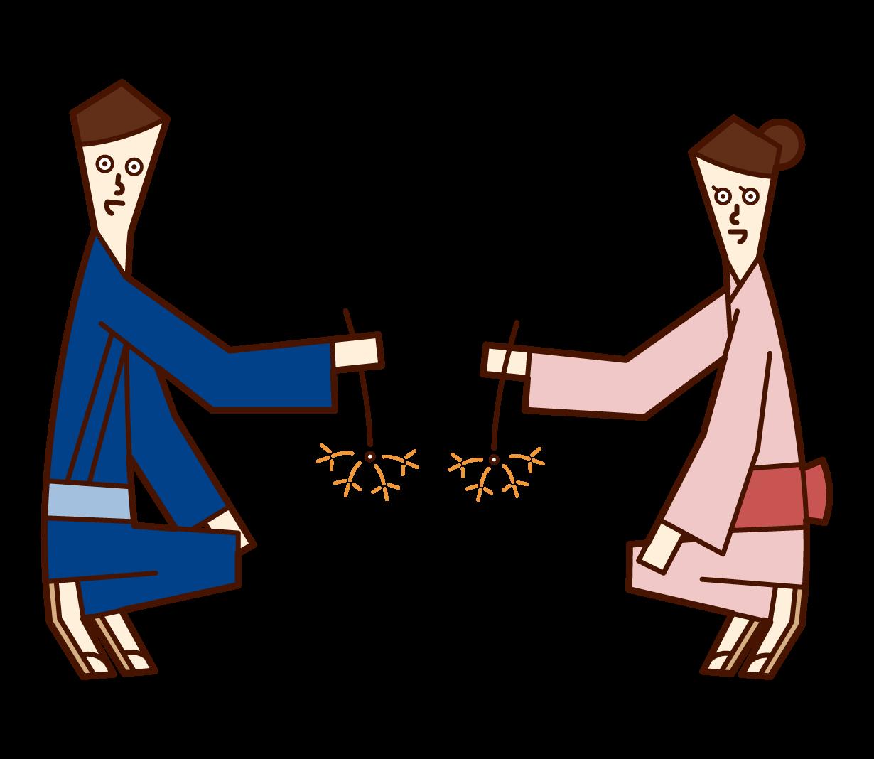 線香花火を楽しむ浴衣を着たカップルのイラスト
