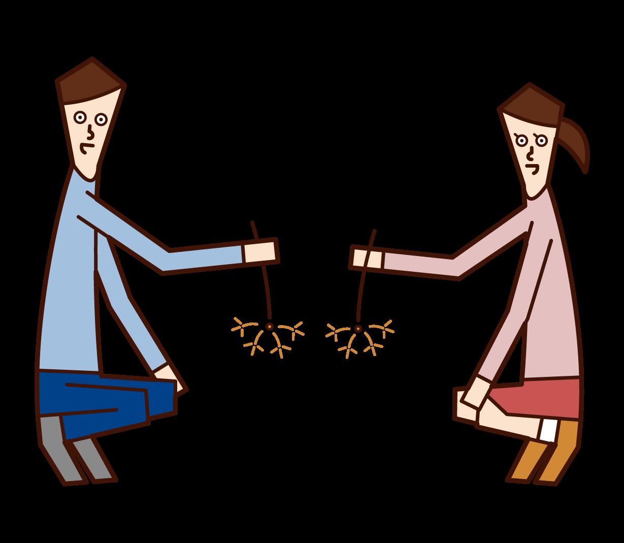 線香花火を楽しむカップルのイラスト