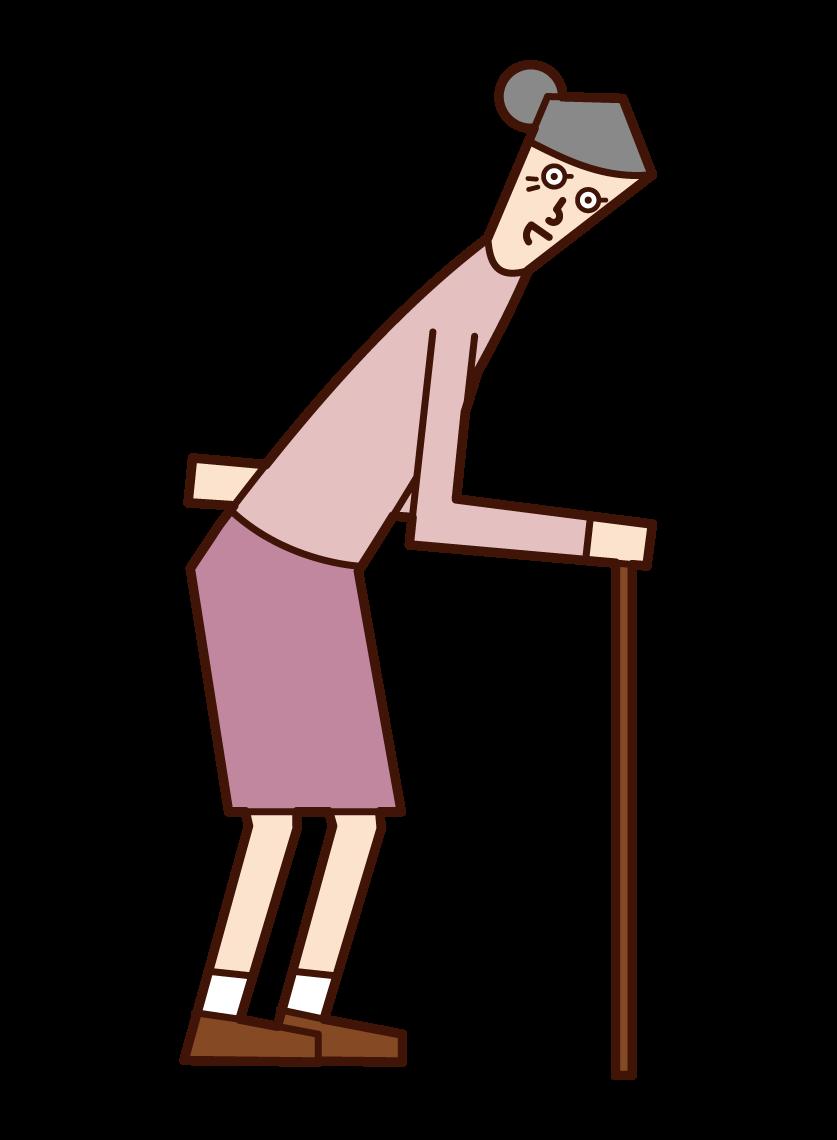 지팡이를 걷고있는 노인 (여자)의 그림