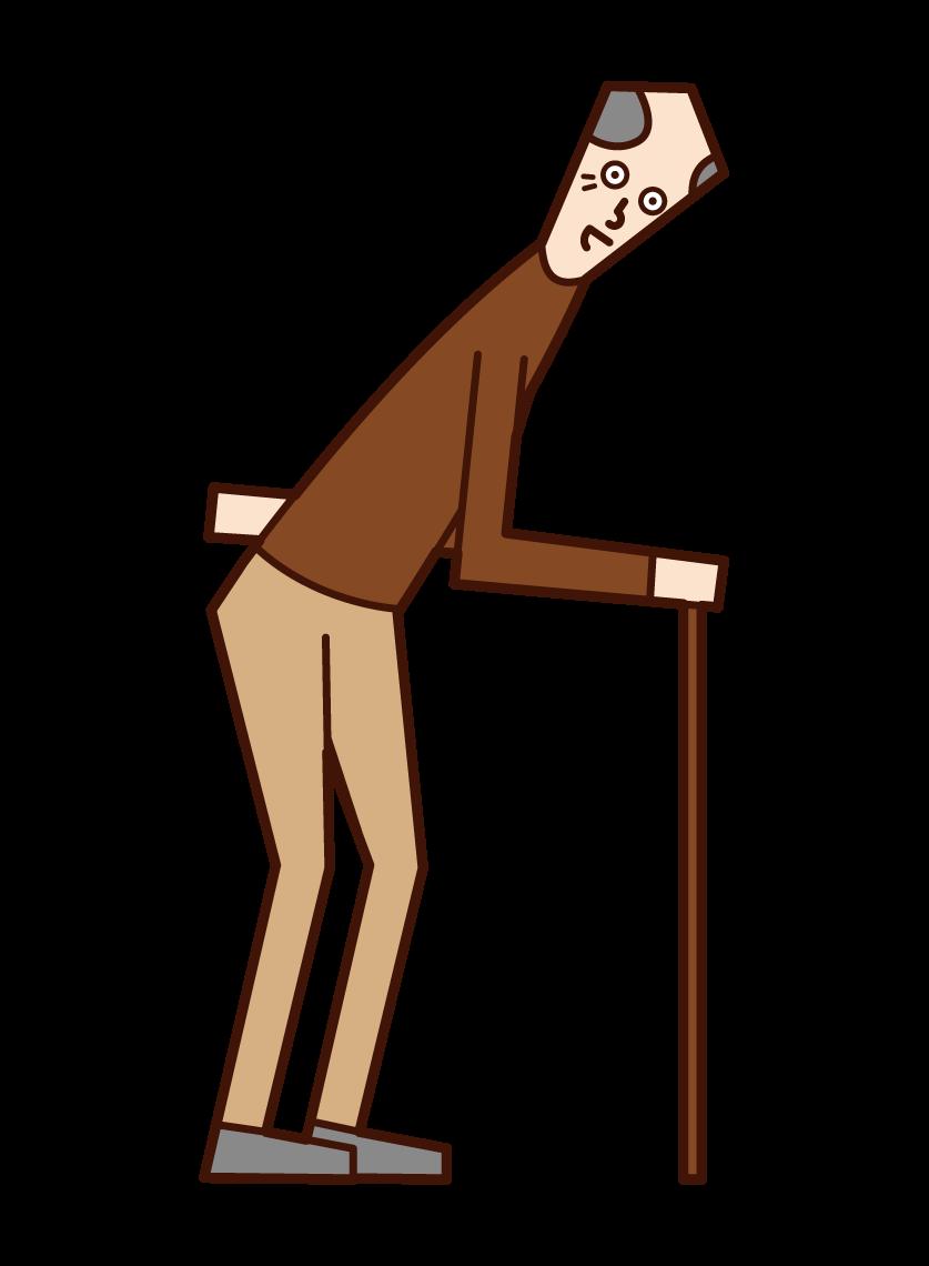 杖をついて歩く老人(男性)のイラスト