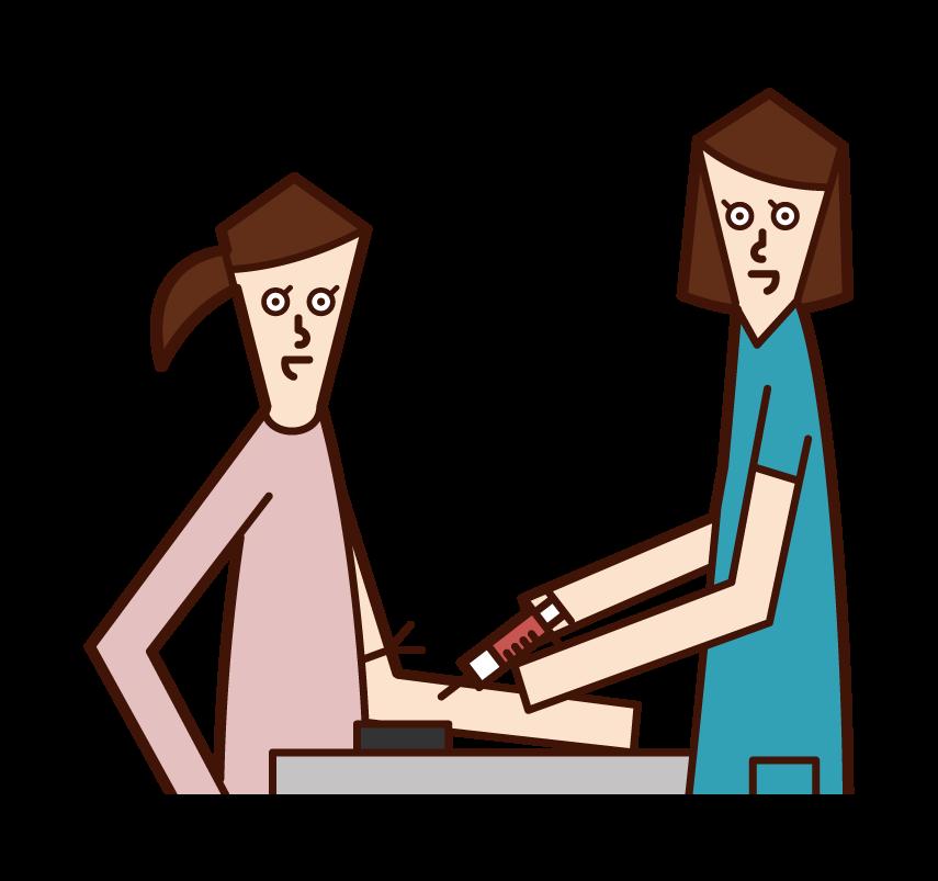 採血をしてもらう人(女性)のイラスト