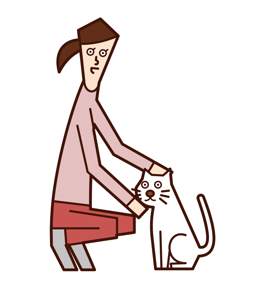 Illustration of a woman who loves cats