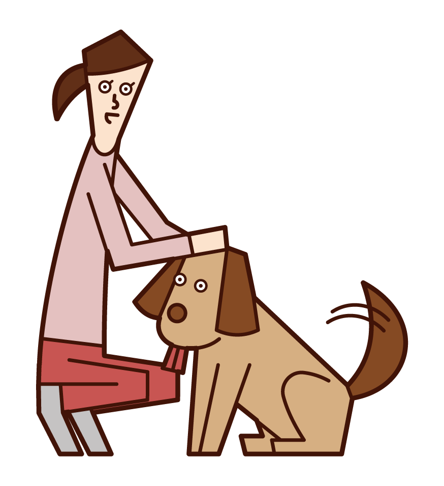 Illustration of a woman who loves a dog