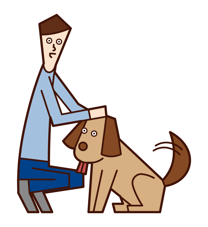 Illustration of a man who loves a dog