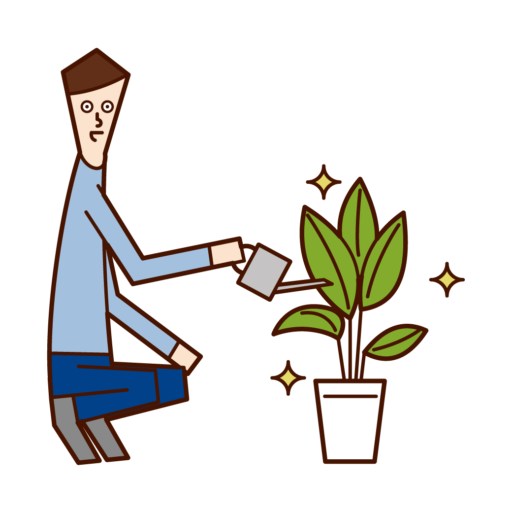 Illustration of a man who gives water to plants