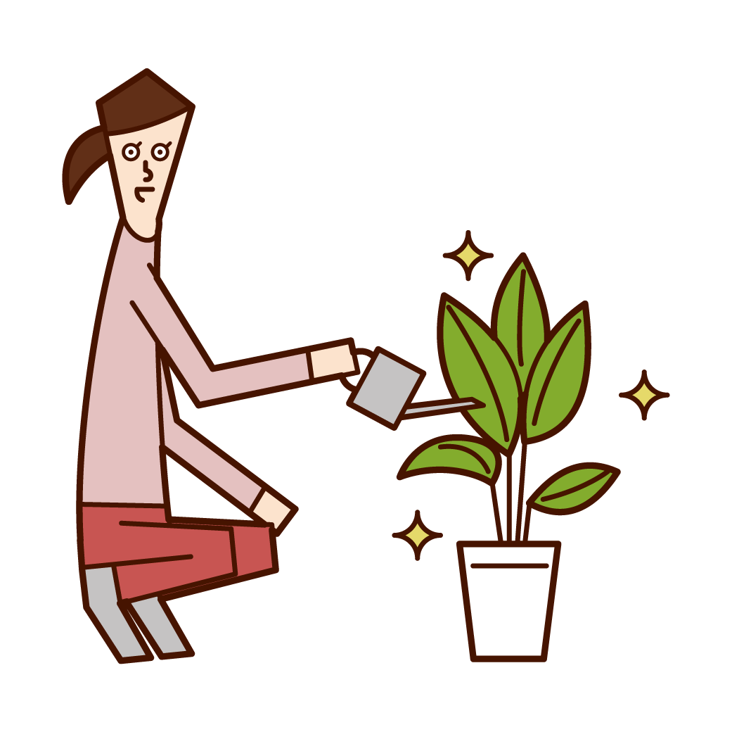 Illustration of a woman who gives water to plants