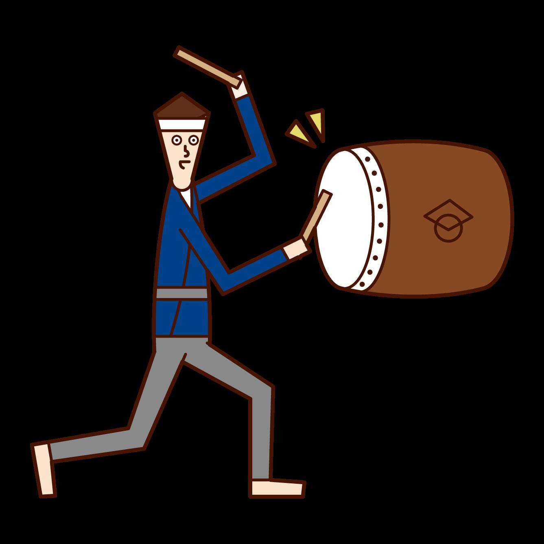 祭りで太鼓を叩く人(男性)のイラスト