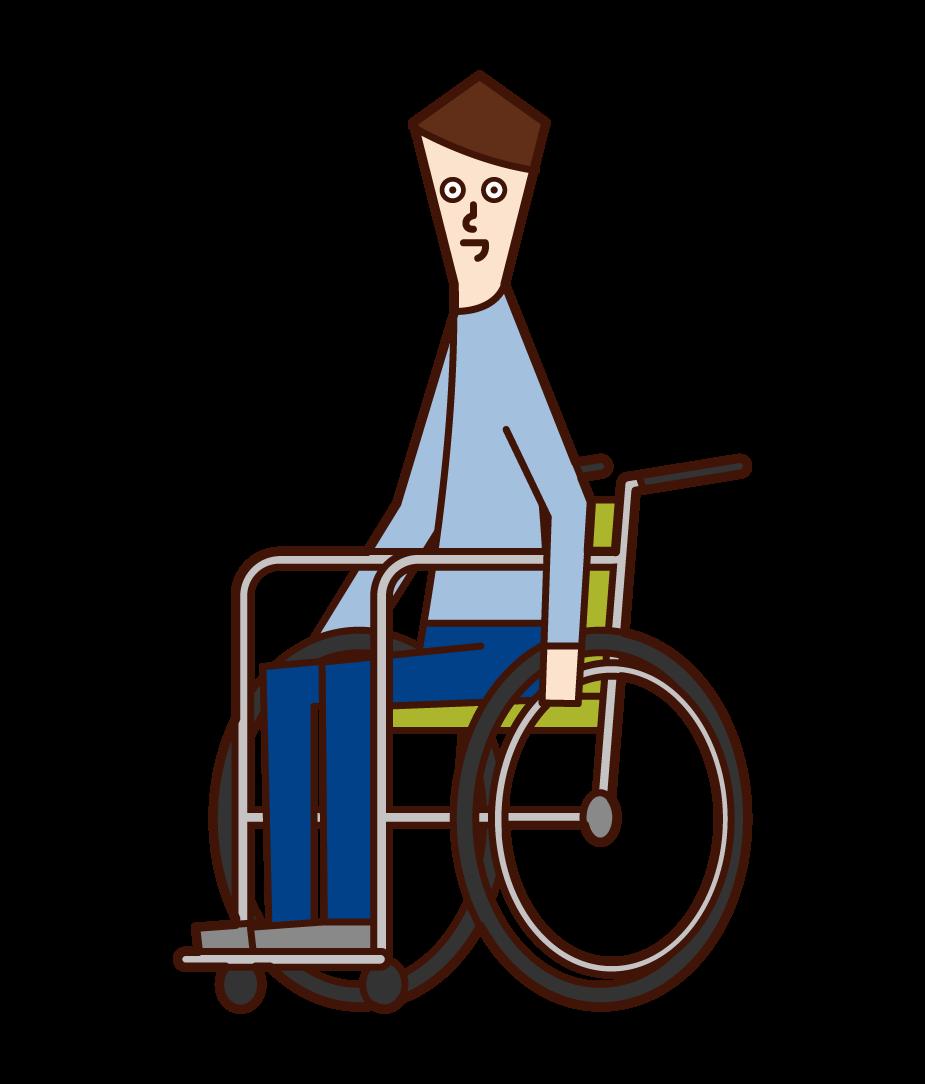 車椅子に乗っている人(男性)のイラスト