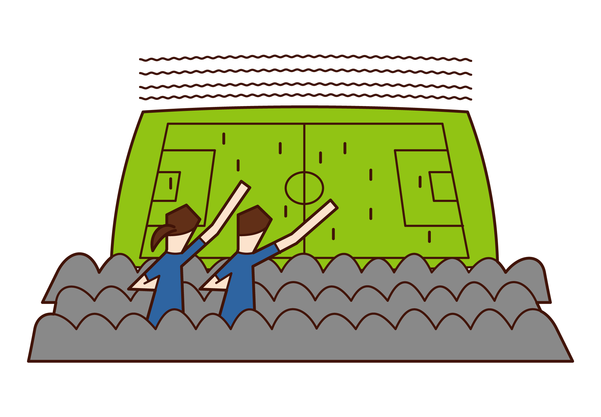 サッカーの試合を観戦する人のイラスト