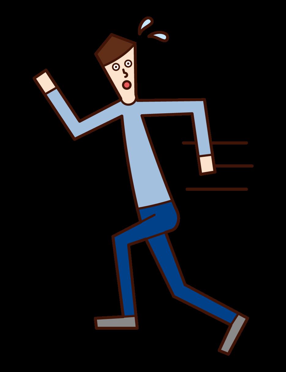 走って逃げる人(男性)のイラスト