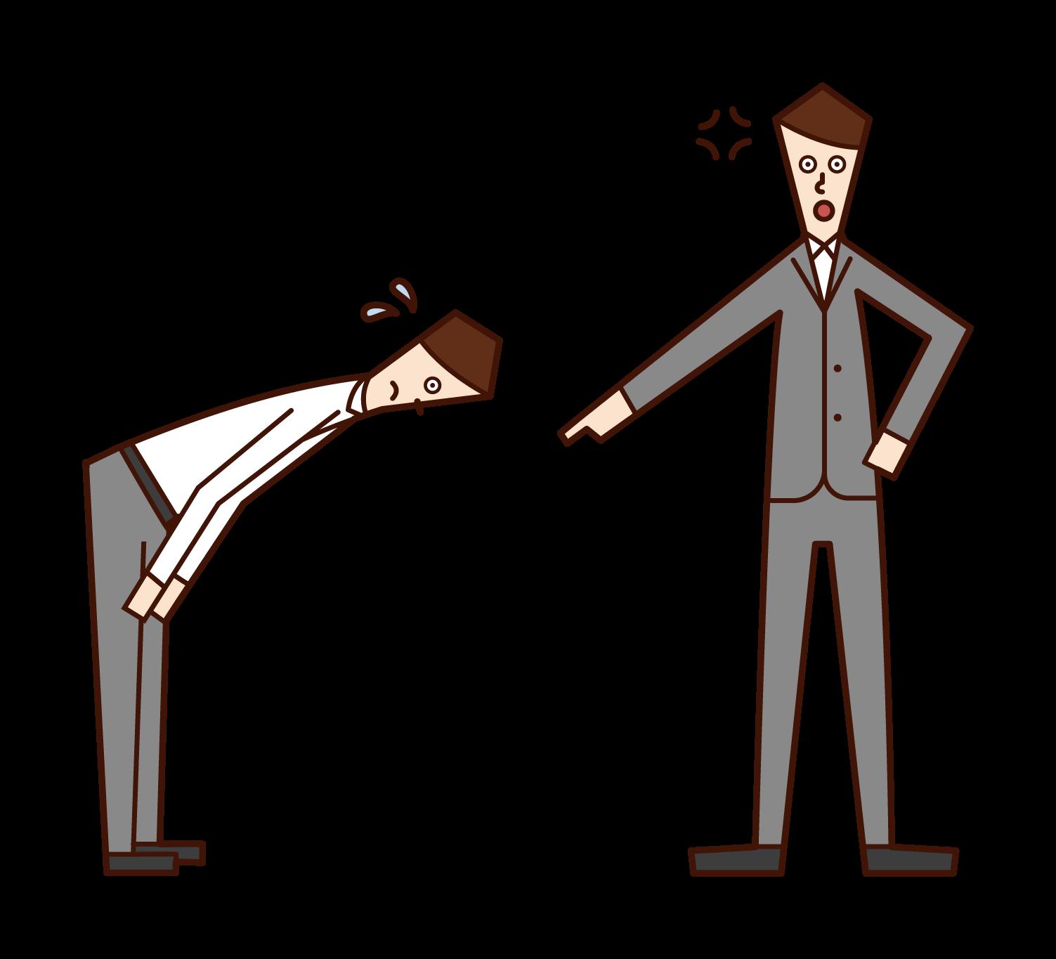 老闆(男性)對下屬生氣的插圖