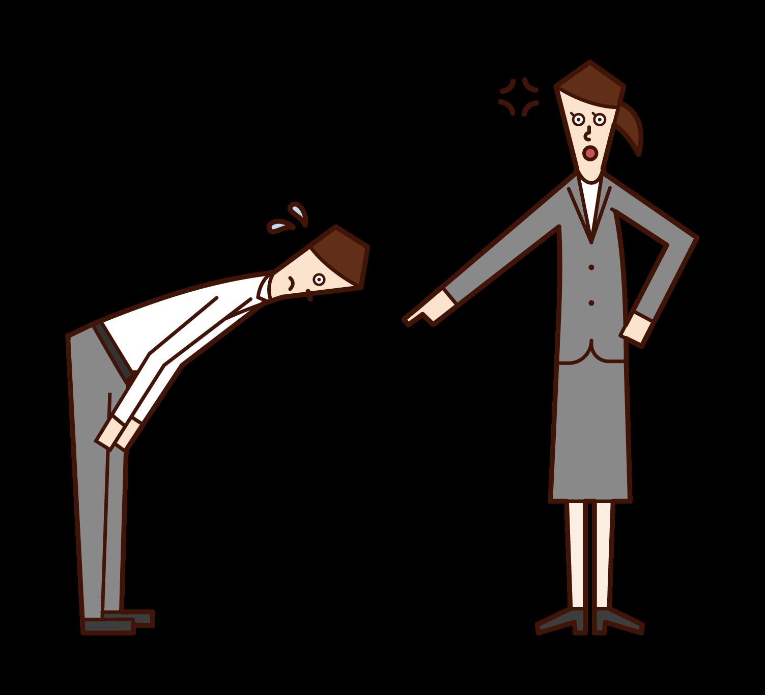 部下を怒る上司(女性)のイラスト