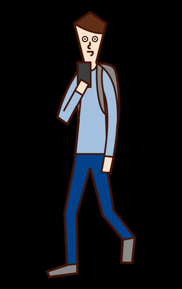 歩きながらスマートフォンを操作する人(男性)のイラスト