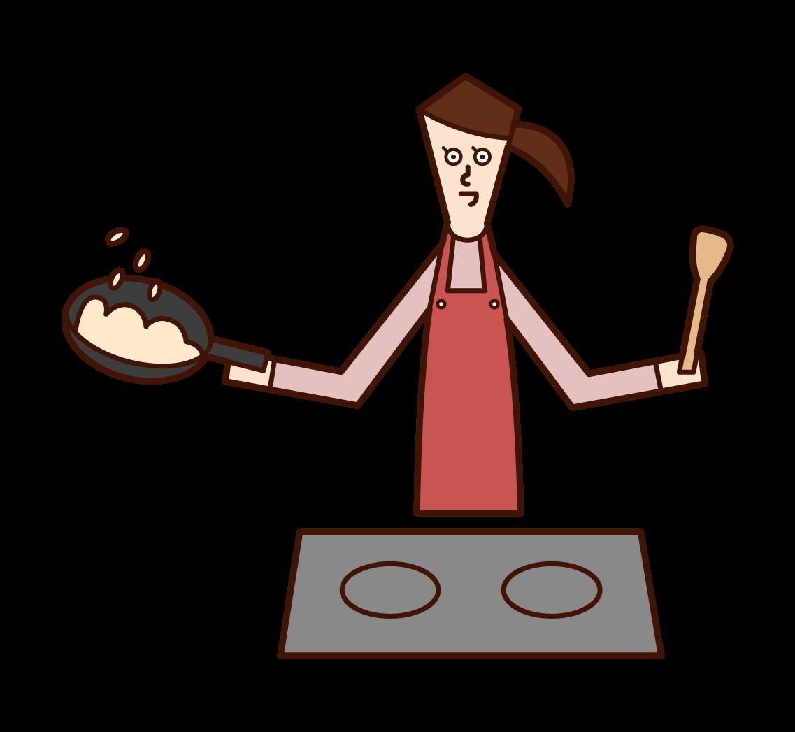 料理をする人(女性)のイラスト