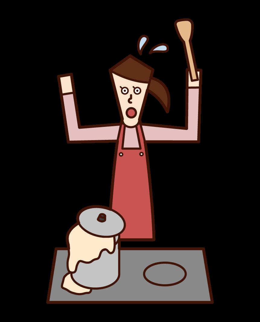 鍋から料理が吹きこぼれて慌てている人(女性)のイラスト