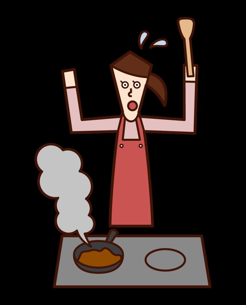 料理が焦げて慌てる人(女性)のイラスト