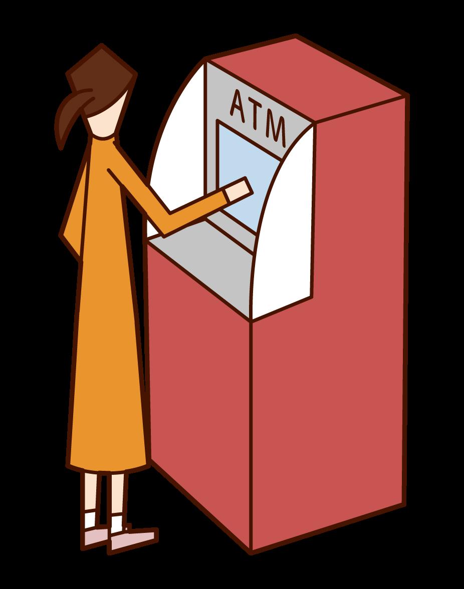 ATM을 사용하는 여성의 일러스트