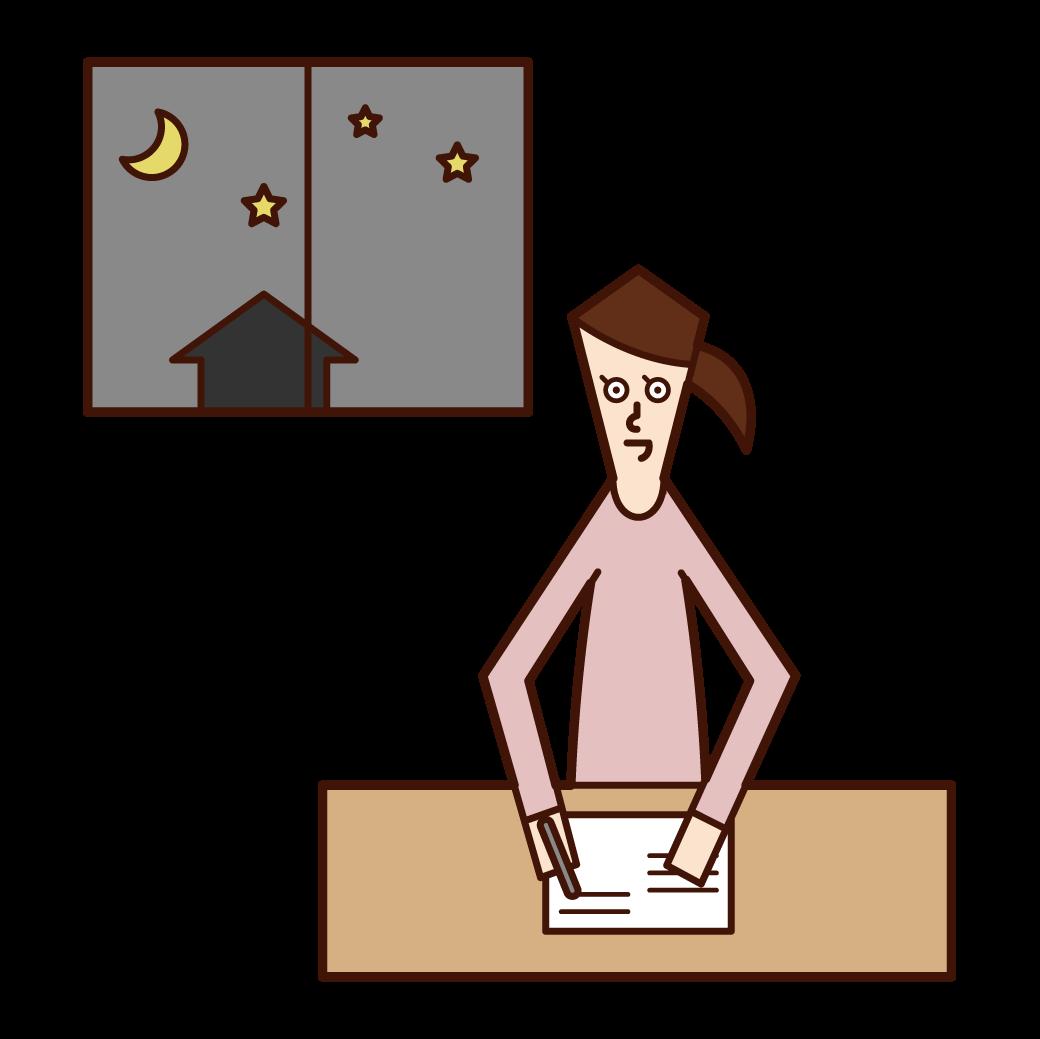 夜遅くまで勉強をする人(女性)のイラスト