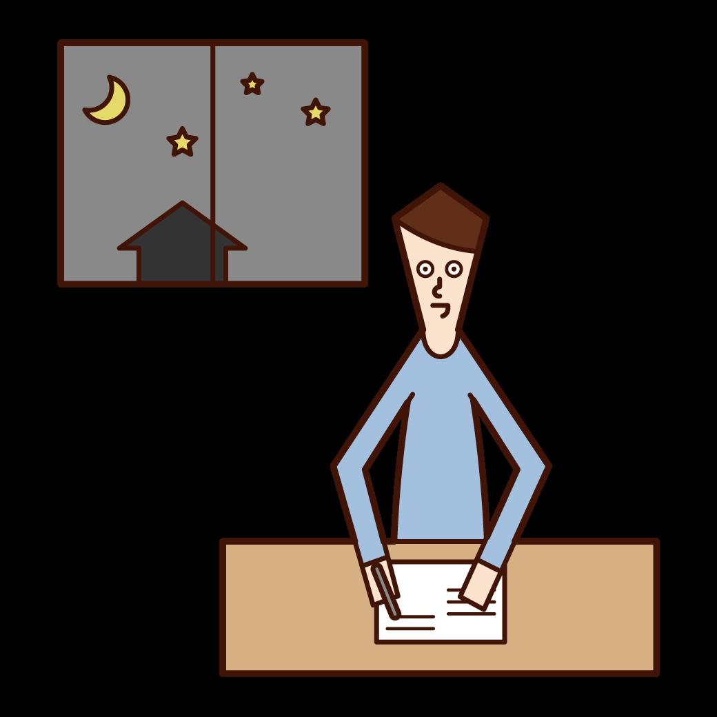 夜遅くまで勉強をする人(男性)のイラスト