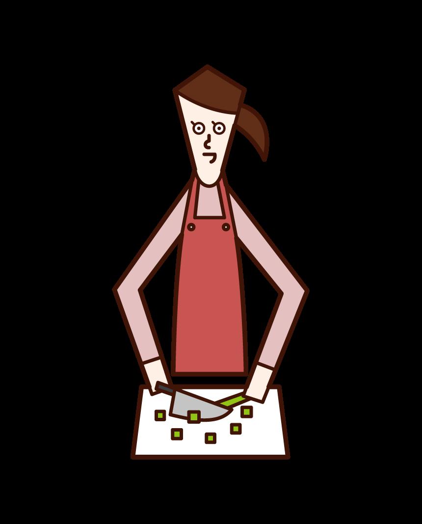食材を切る人(女性)のイラスト
