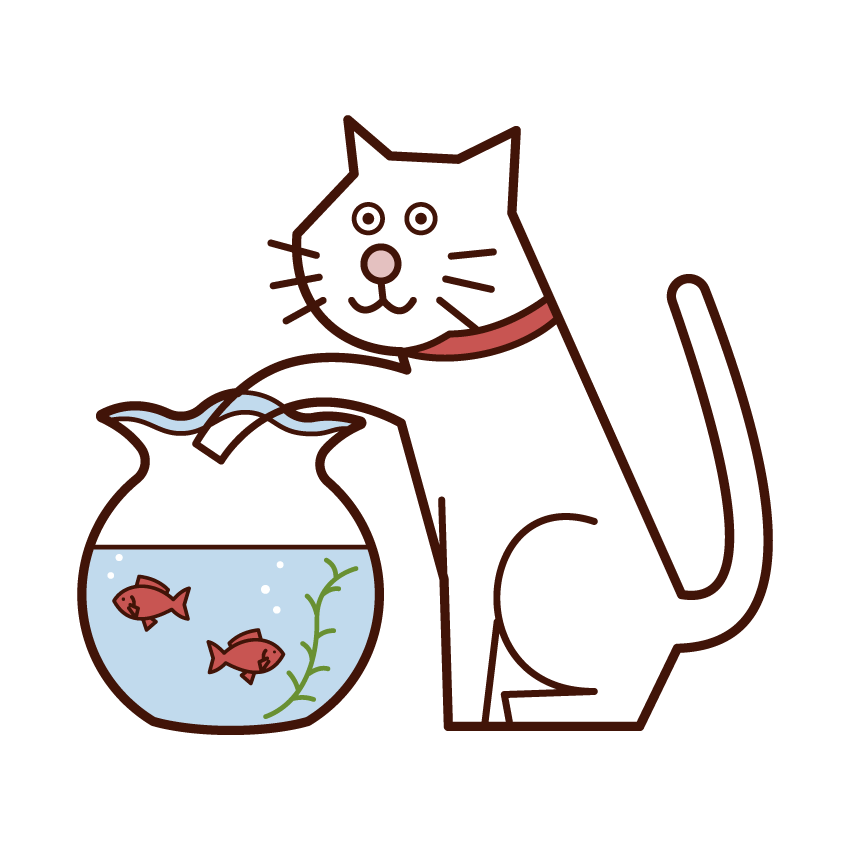 Illustration of a cat trying to eat goldfish