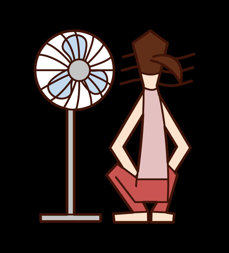 扇風機の風に当たる人(女性)のイラスト