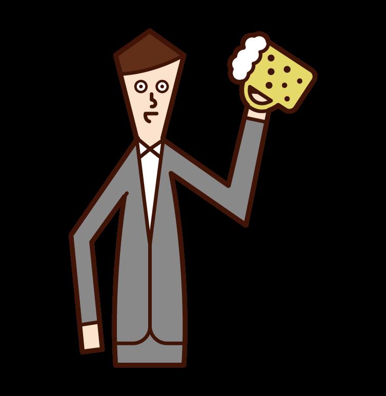 ビールを飲む人(男性)のイラスト