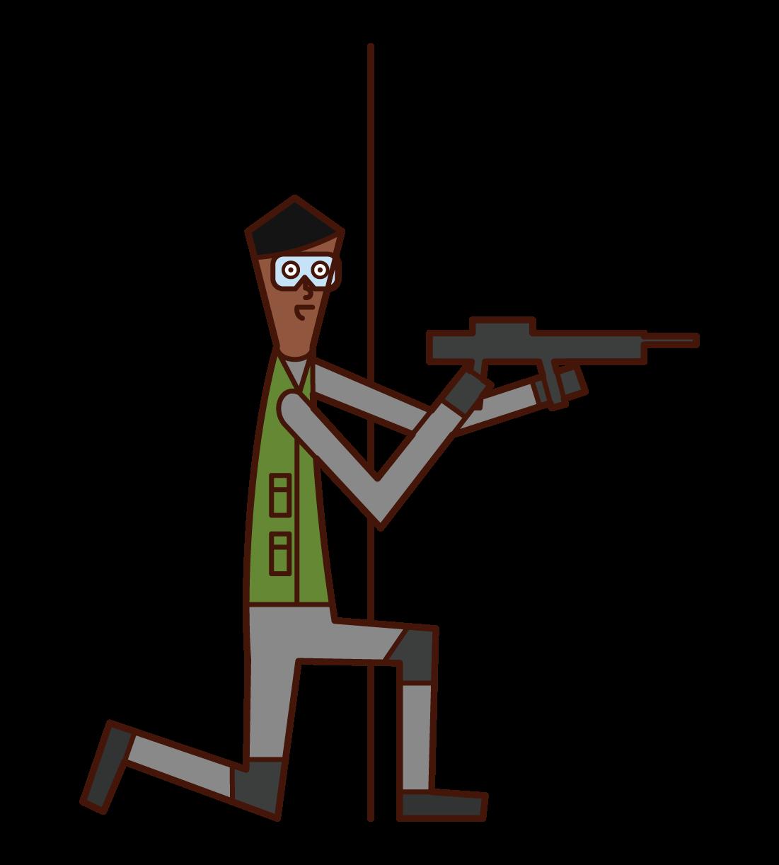 サバイバルゲームを楽しむ人(男性)のイラスト