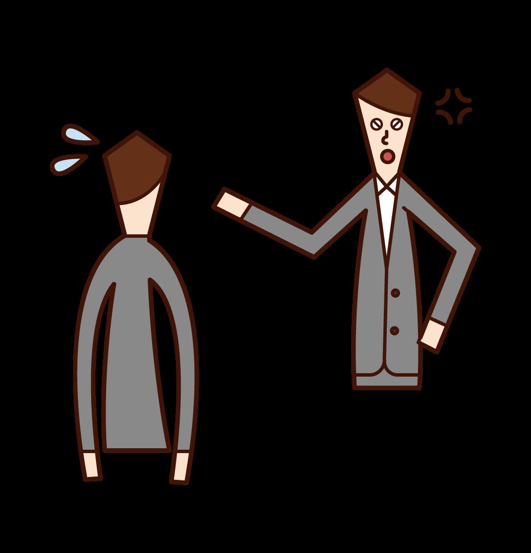 部下を叱責する上司(男性)のイラスト