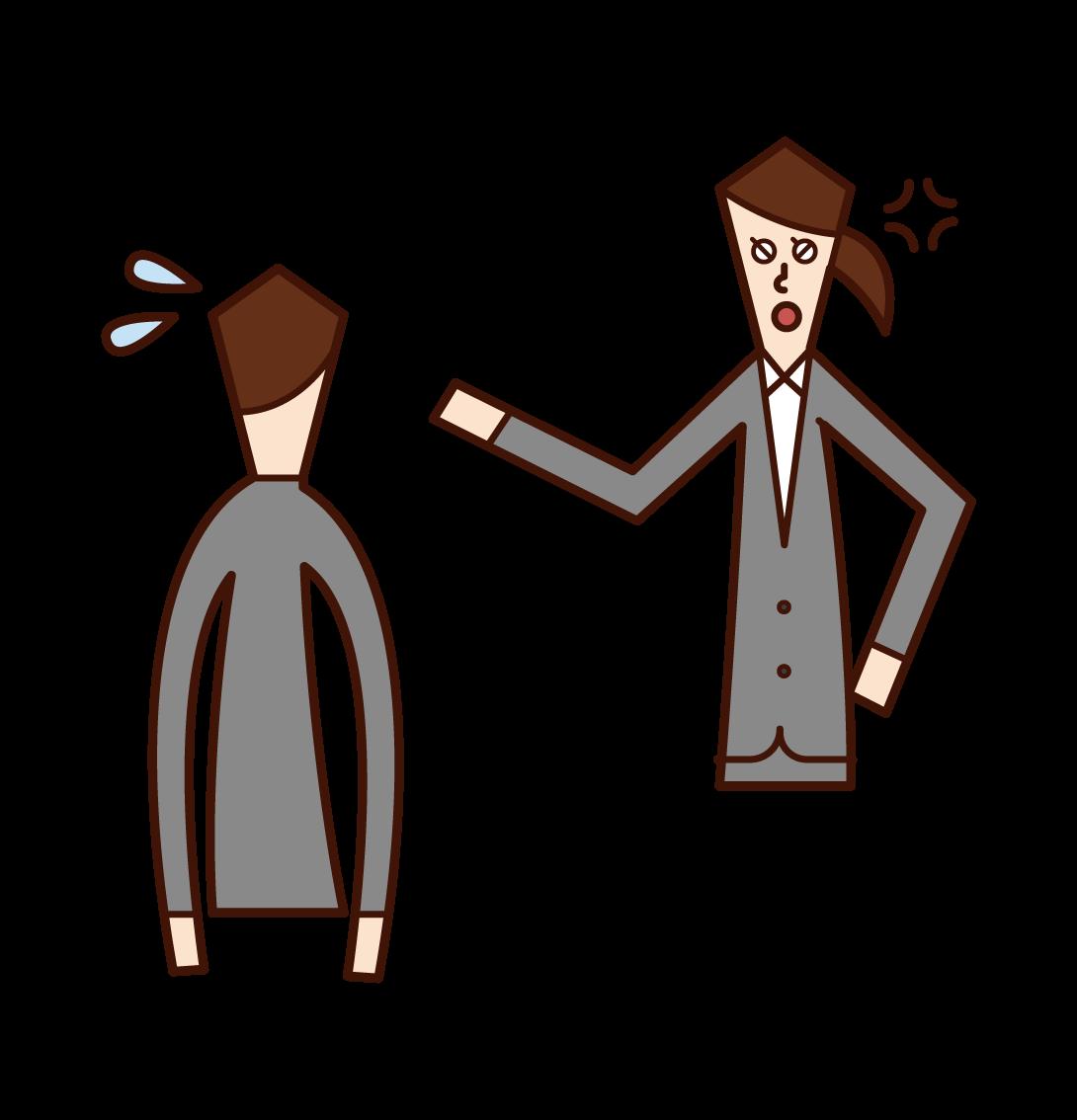 部下を叱責する上司(女性)のイラスト