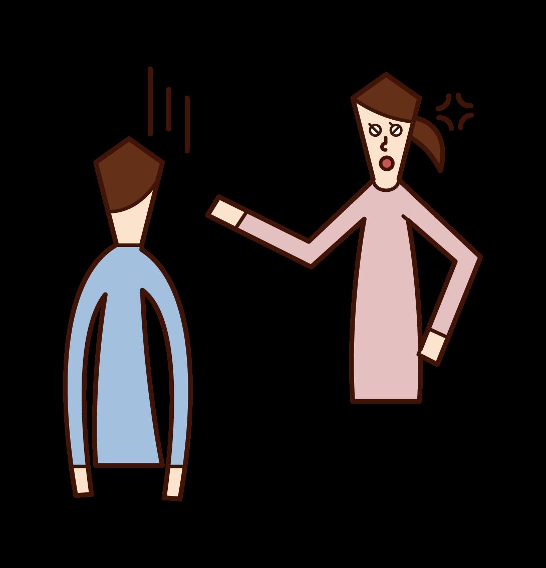 怒る人(女性)のイラスト