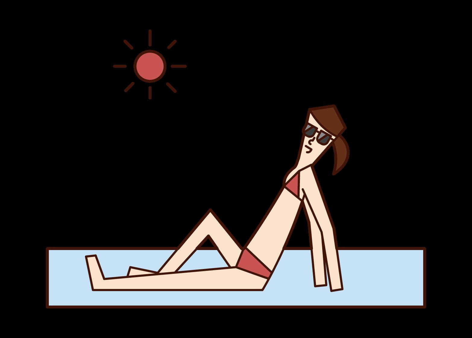 浜辺で日光浴をする人(女性)のイラスト