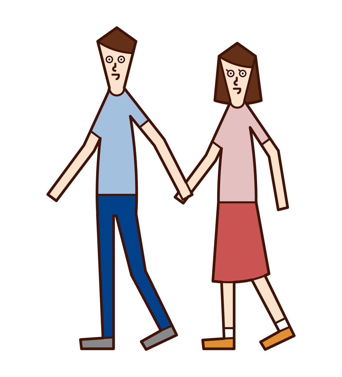 Illustration of a couple walking hand in hand