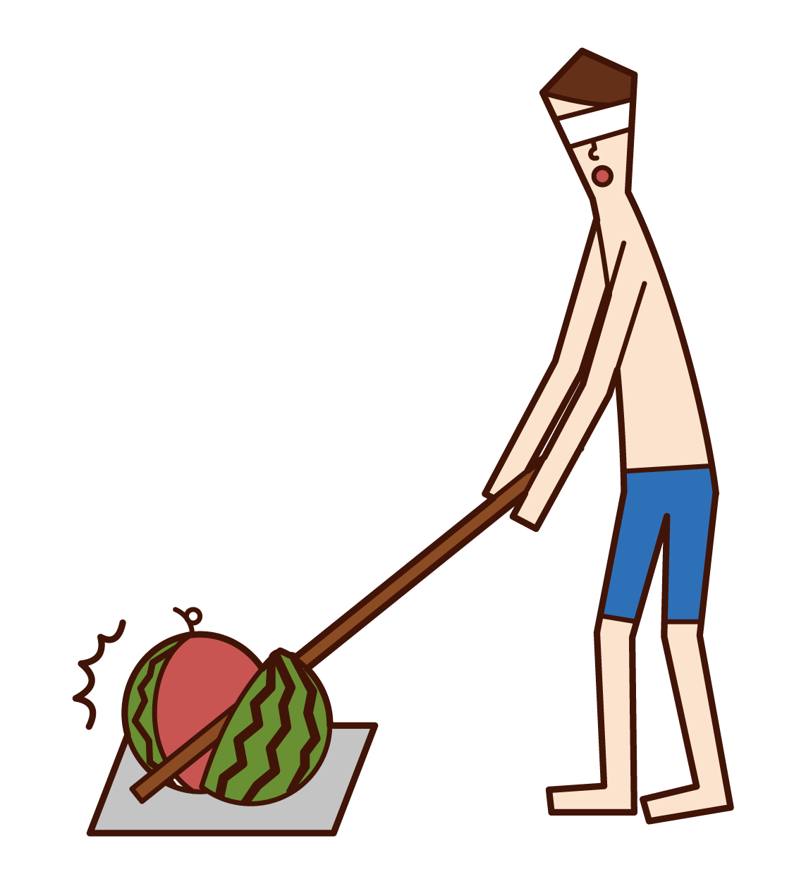 成功破解西瓜的人(男性)的插圖