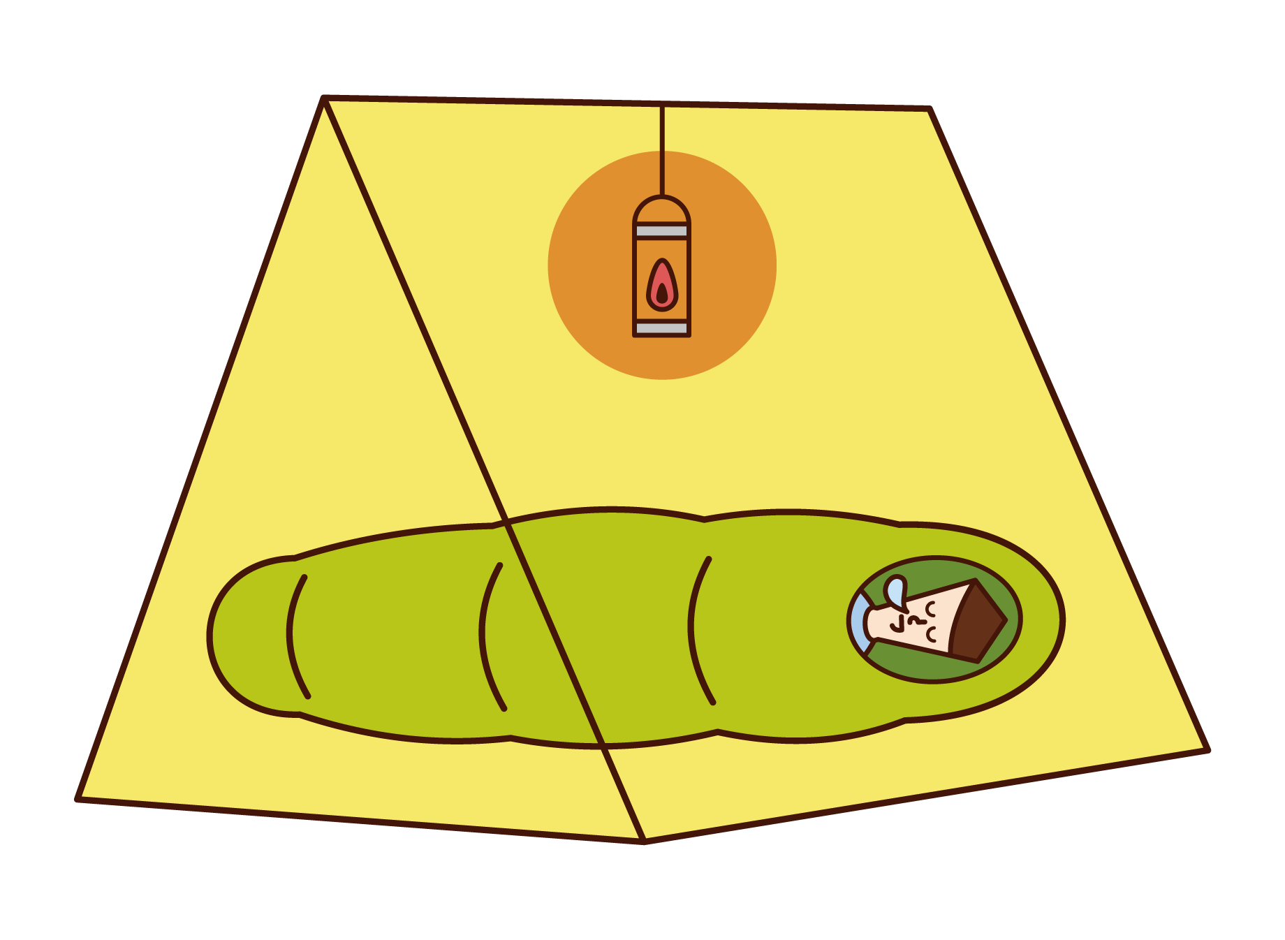 Illustration of a man sleeping in a tent