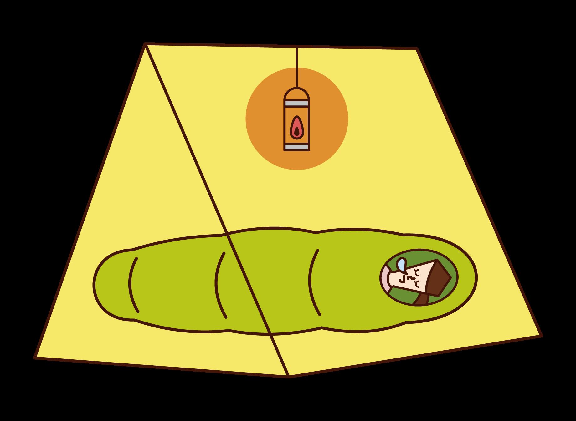テントの中で寝る人(女性)のイラスト