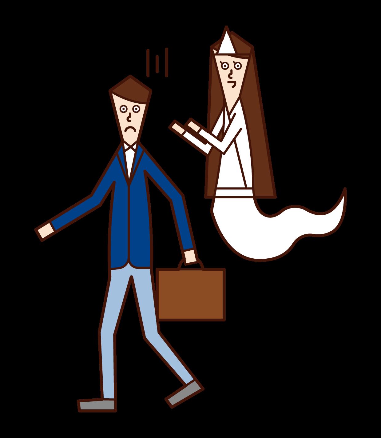 幽霊に取り憑かれている人(男性)のイラスト
