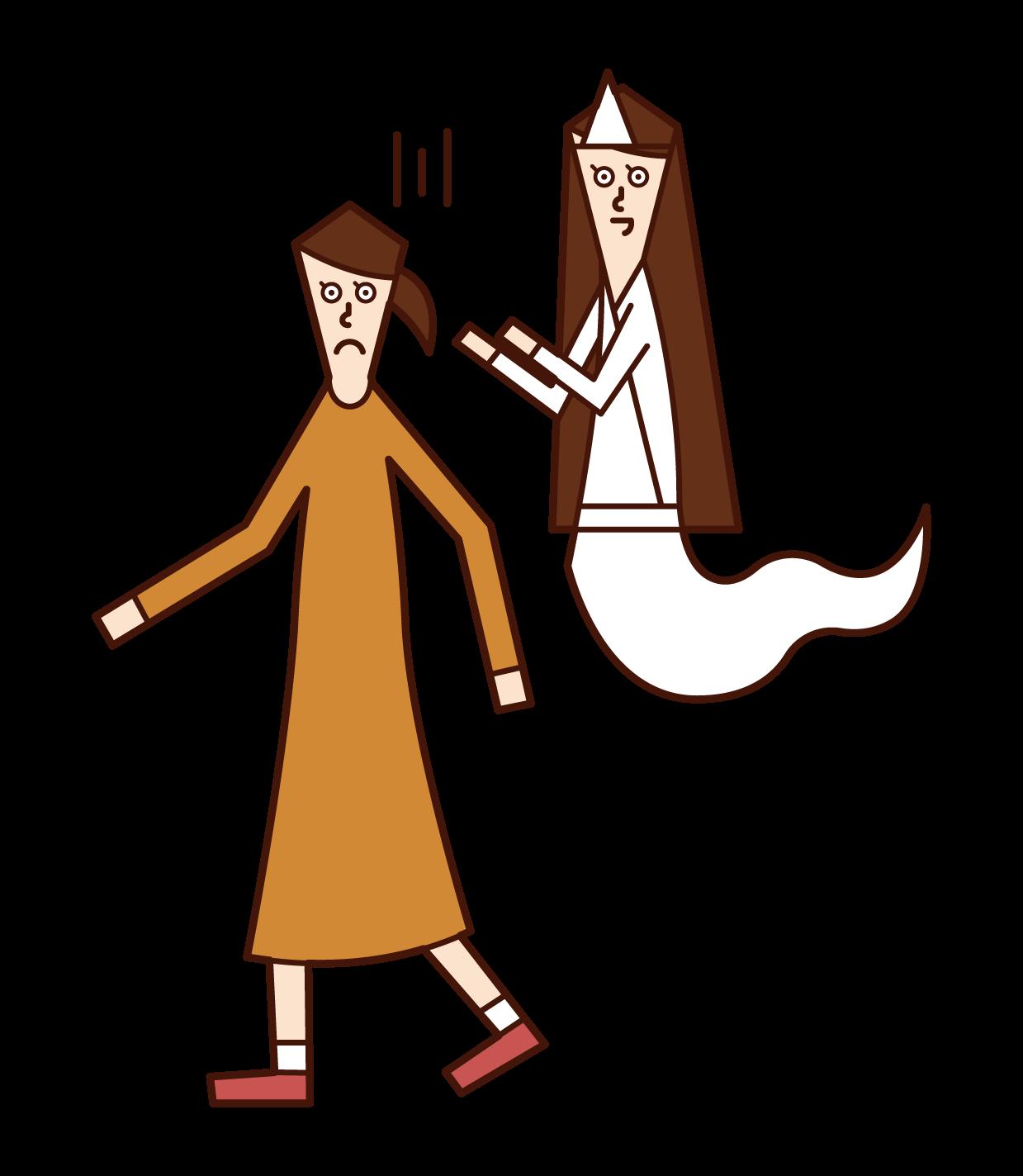 幽霊に取り憑かれている人(女性)のイラスト