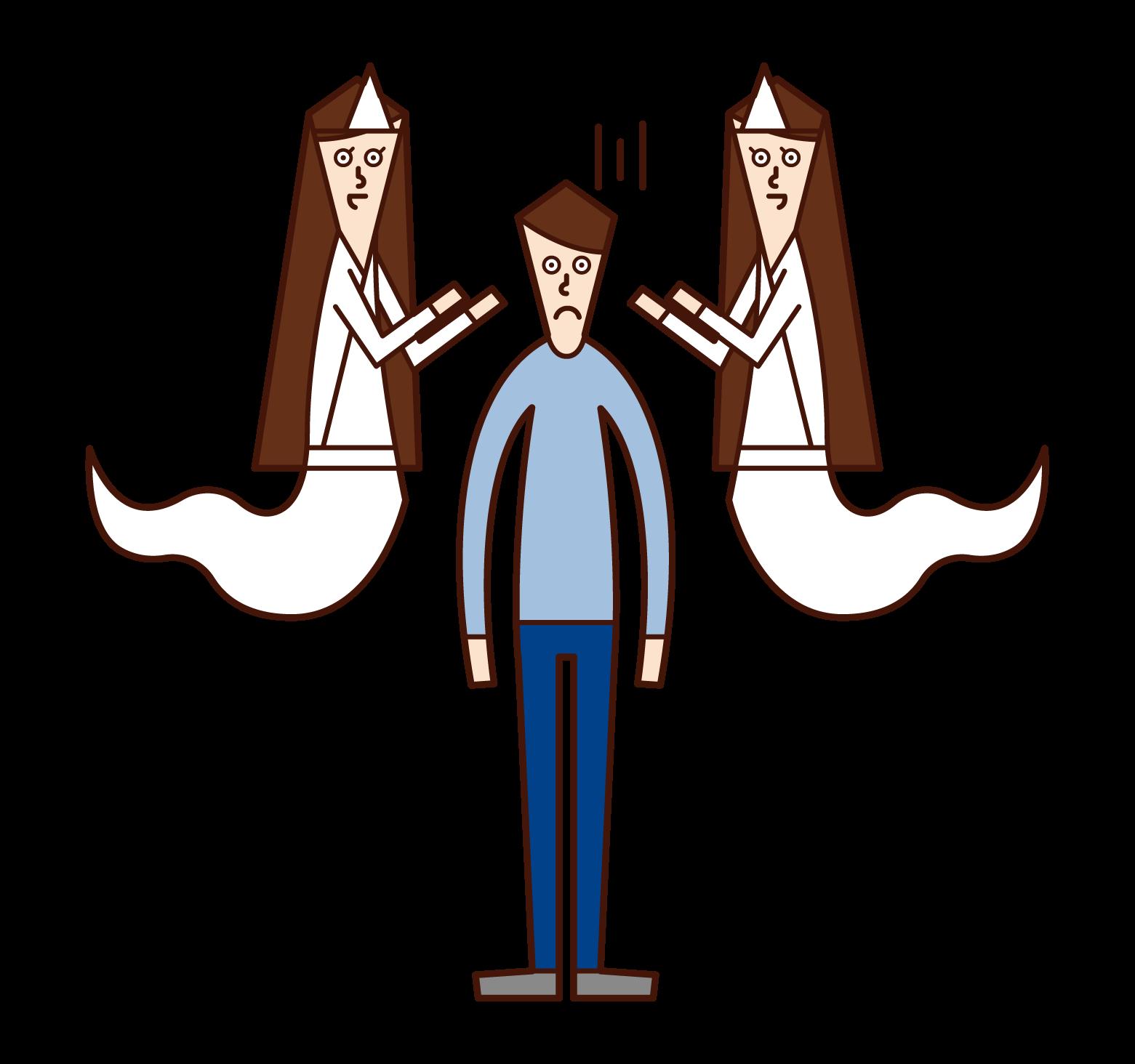沢山の幽霊に取り憑かれている人(男性)のイラスト