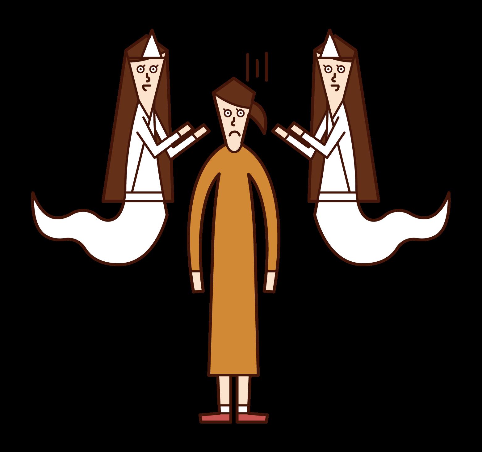 沢山の幽霊に取り憑かれている人(女性)のイラスト