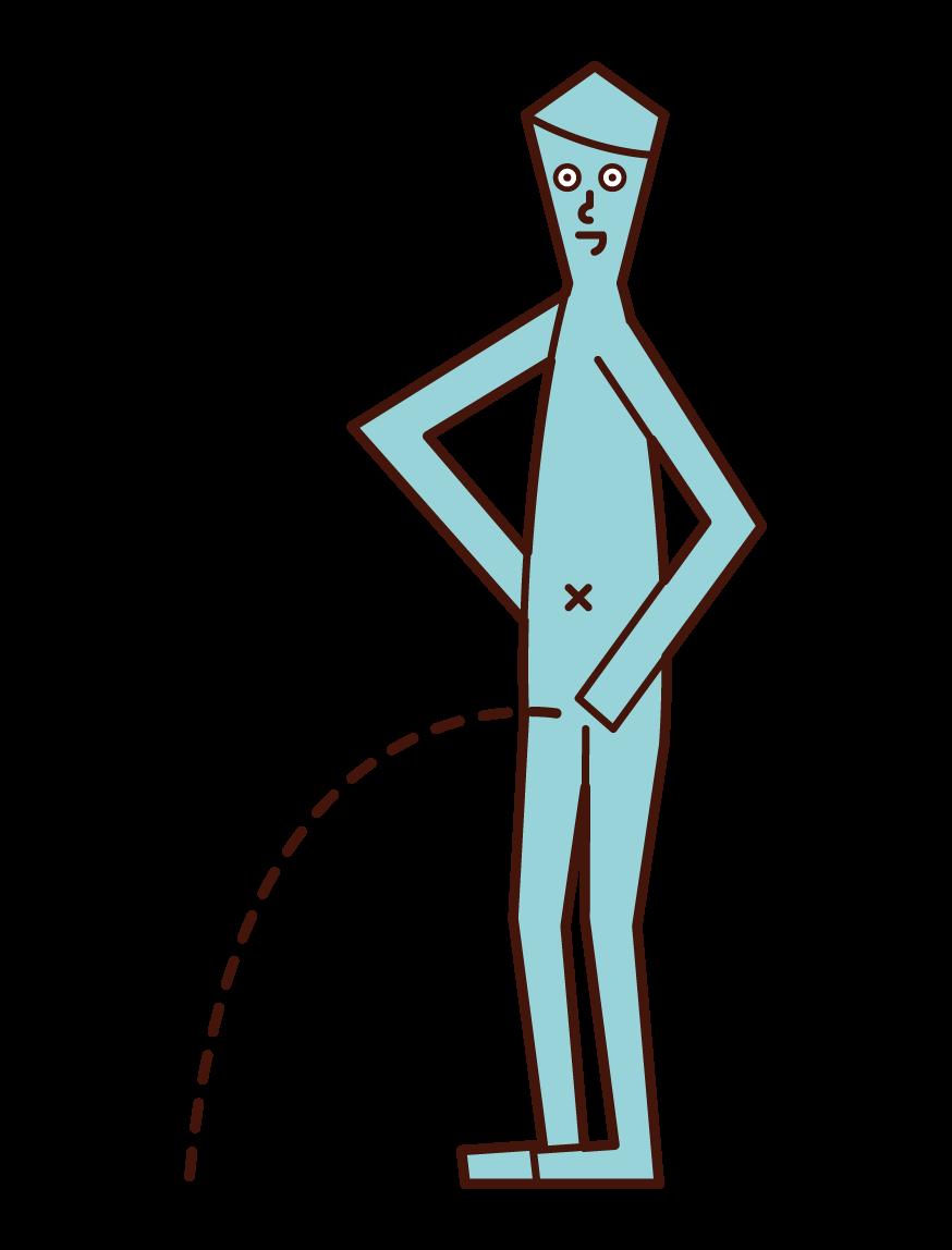 小便小僧の像のイラスト