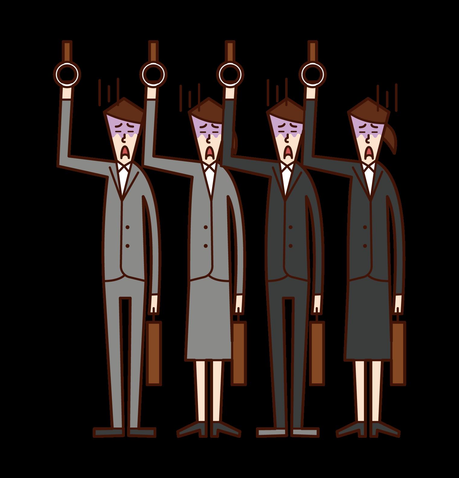満員電車に乗る人たちのイラスト