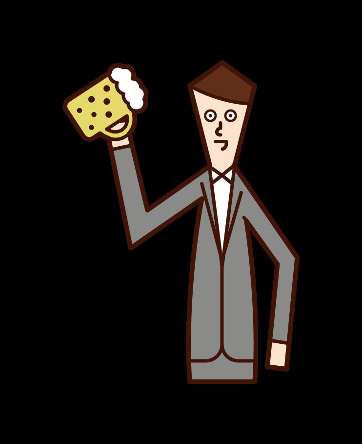 喝啤酒的人(男性)的插圖