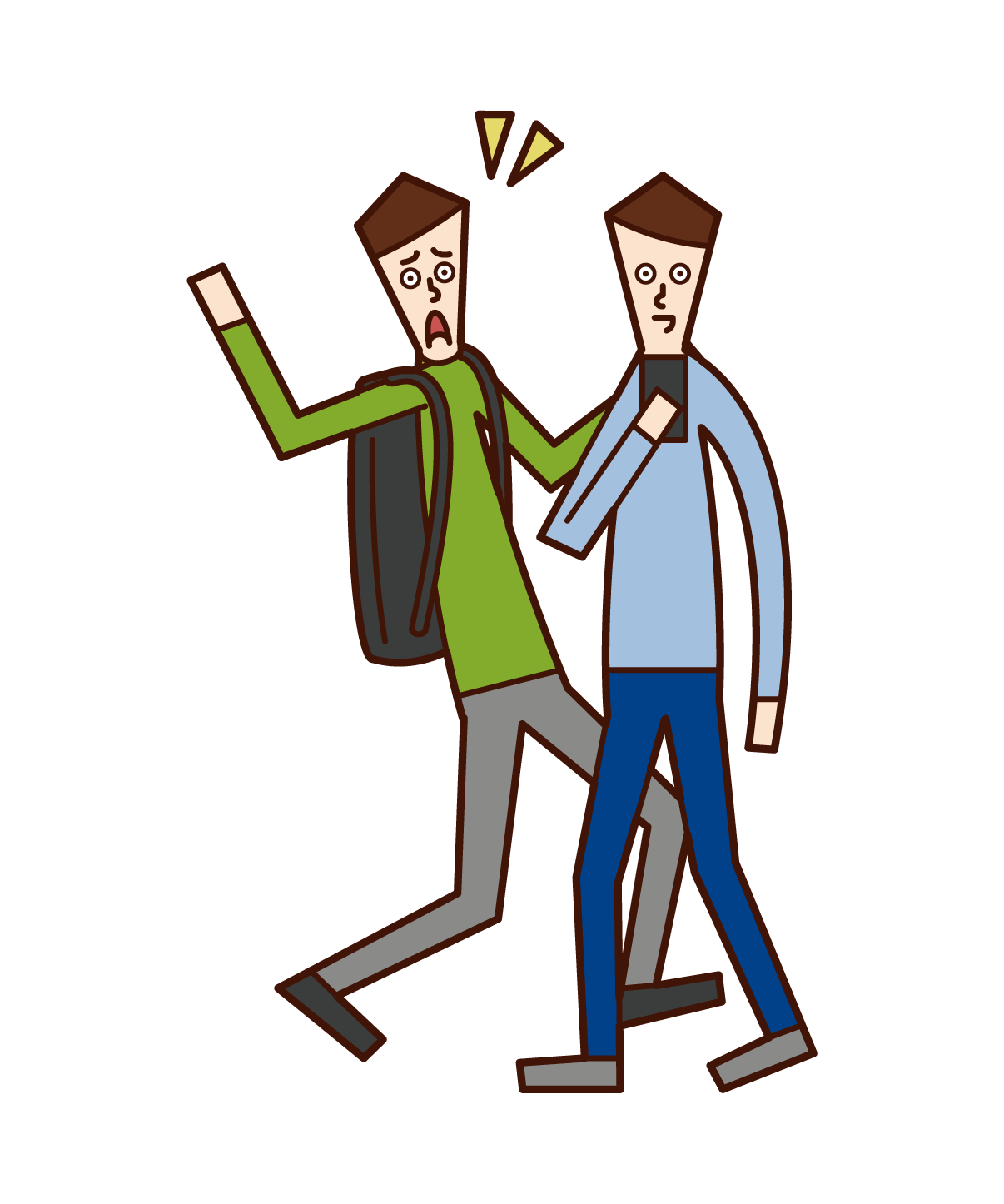 Illustration of a person who operates a smartphone while walking, a walking smartphone (man)