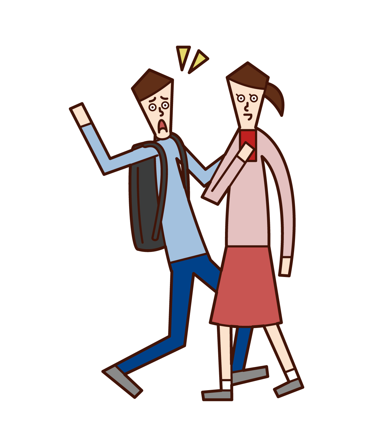 Illustration of a person who operates a smartphone while walking, a walking smartphone (woman)
