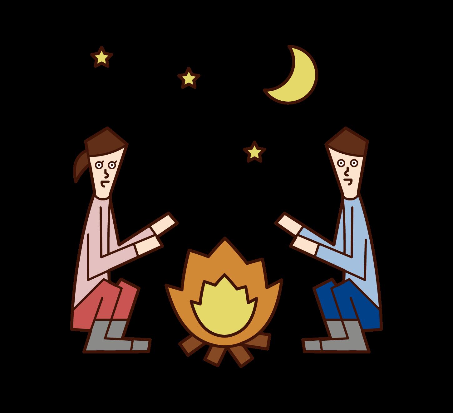 キャンプファイヤー・焚火のイラスト