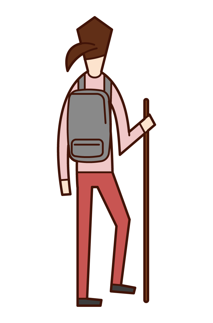Illustration of a woman hiking