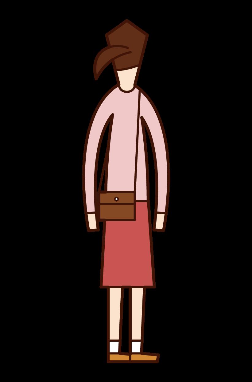 숄더백을 들고 있는 여성의 일러스트