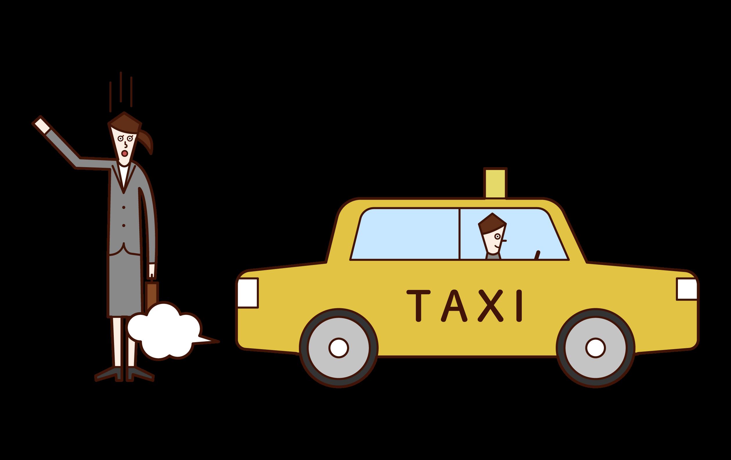 택시를 잡지 못한 여성의 일러스트
