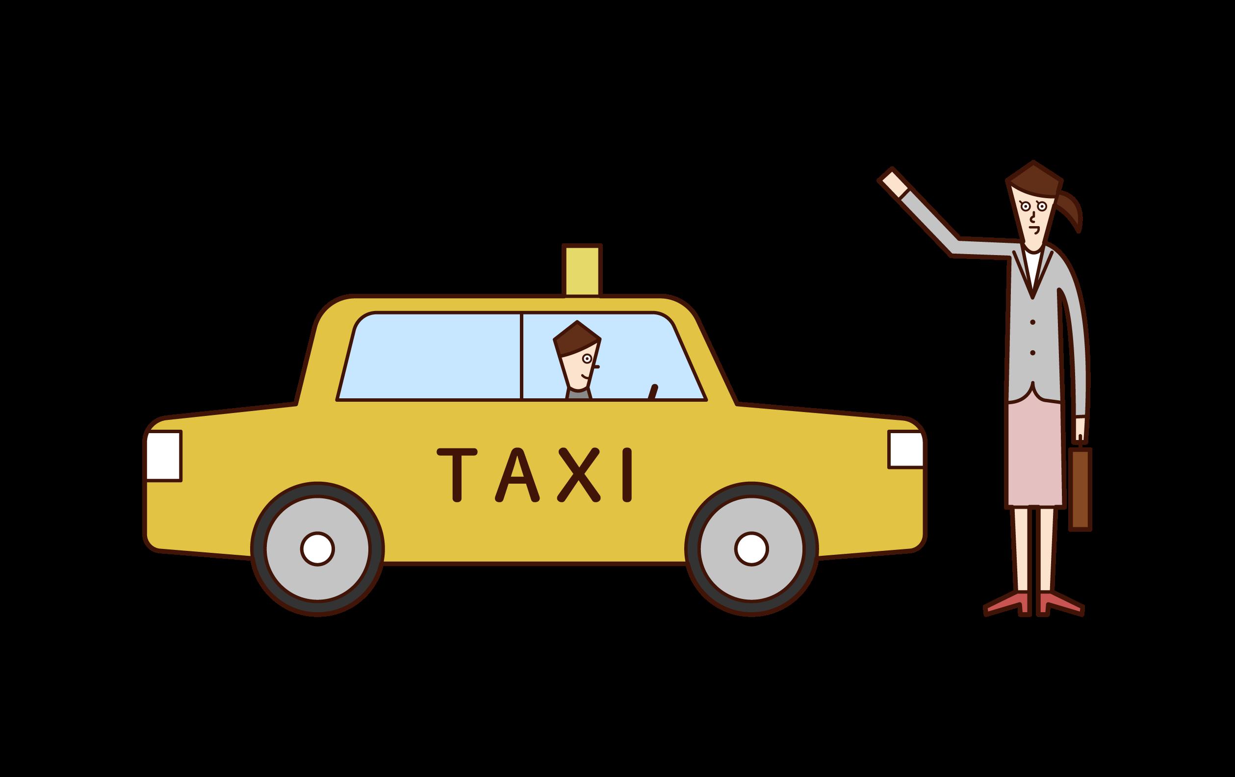 택시를 잡는 여자의 그림